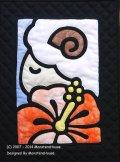 干支キルト:ひつじとハイビスカス ステンドグラスキルトタペストリー30_40_Pattern