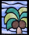 ヤシの木のステンドグラスキルトタペストリー20_25