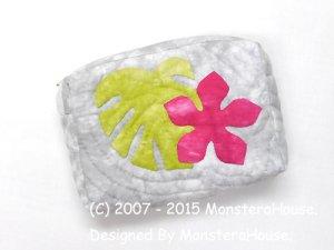 画像1: モンステラとプルメリアのキャラメルポーチ 薄型