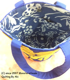 画像3: ミニバケツトートバッグ パイナップル スクロールデザイン