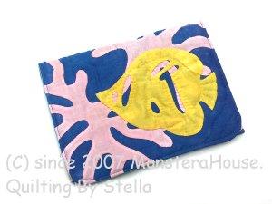 画像1: フタ付簡単ミニポーチ サンゴとトビチョウチョウウオ