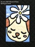 干支キルト:イヌとティアレ ステンドグラスキルトタペストリー30_40
