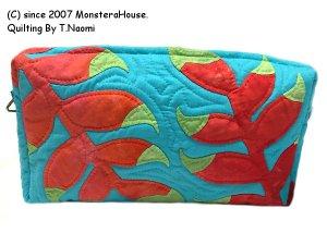 画像1: ヘリコニアのキャラメルポーチ薄型おっきめ