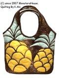 ステンドグラスキルト:パイナップルのラウンドバッグ