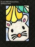 干支キルト:ネズミとエンゼルストランペット ステンドグラスキルトタペストリー30_40